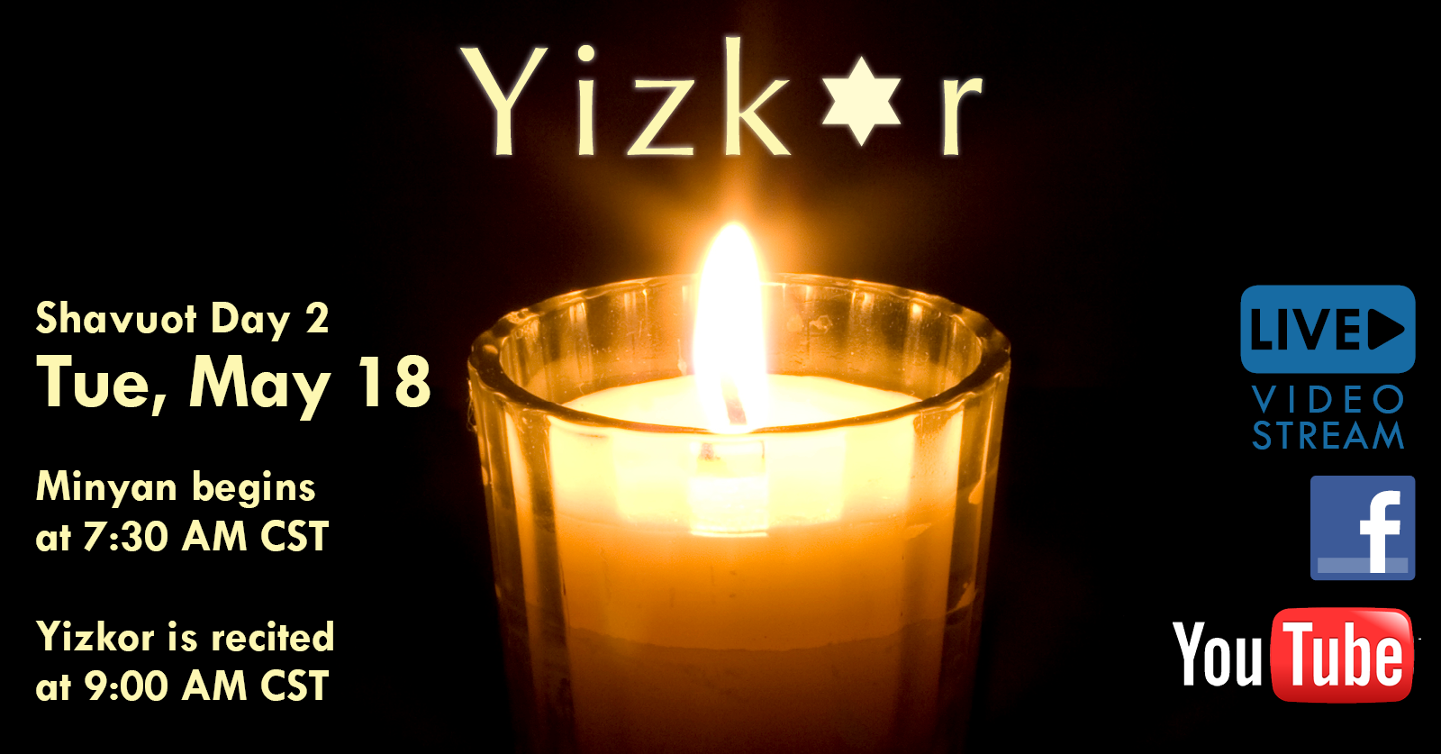 Banner Image for Yizkor (Minyan 7:30 AM, Yizkor 9:00 AM CST)