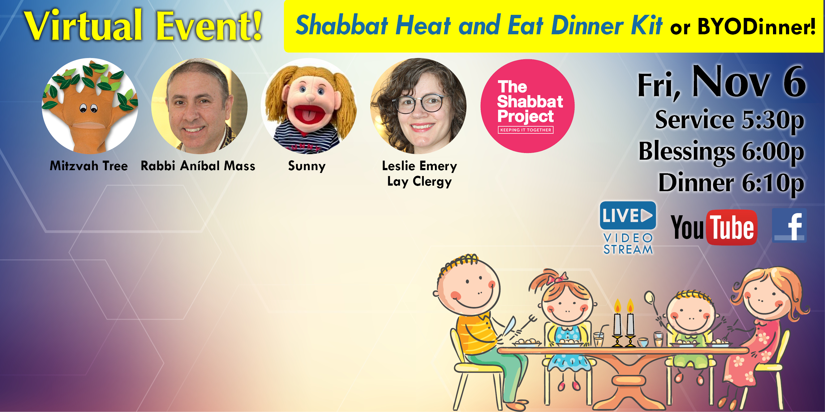 """<a href=""""https://www.szwinnipeg.ca/event/2020-10-06-FamilyDinner""""                                     target="""""""">                                                                 <span class=""""slider_title"""">                                     Virtual Family Shabbat Dinner (Heat and Eat Dinner Kit or BYODinner)                                </span>                                                                 </a>                                                                                                                                                                                       <span class=""""slider_description"""">Let's eat Shabbat dinner together! Order our 'Shabbat Heat and Eat Dinner Kit' or BYODinner! Order your kit by Tuesday, November 3. Join us online as we bring in Shabbat and celebrate the International Shabbat Project through music and song featuring Rabbi Anibal Mass and Leslie Emery, Lay Clergy, with our puppet friends, Sunny and the Mitzvah Tree!</span>                                                                                     <a href=""""https://www.szwinnipeg.ca/event/2020-10-06-FamilyDinner"""" class=""""slider_link""""                             target="""""""">                             More Information                            </a>"""