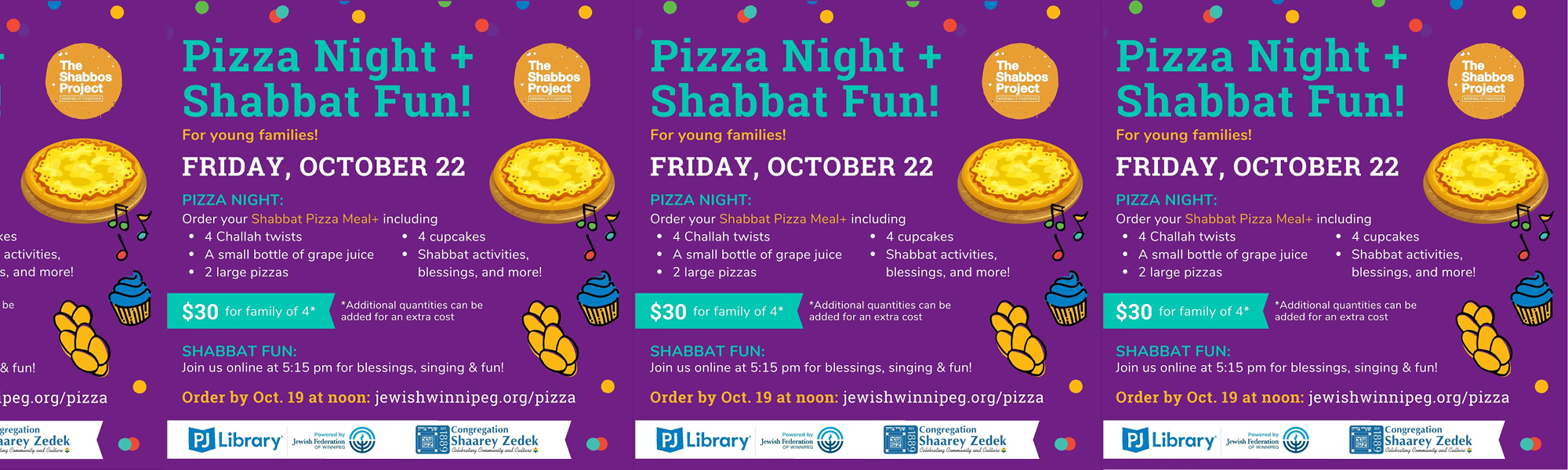 """<a href=""""https://www.szwinnipeg.ca/event/2021-10-22-Pizza-Night-Shabbat-Fun""""                                     target="""""""">                                                                 <span class=""""slider_title"""">                                     Pizza Night + Shabbat Fun for Young Families, Fri, Oct 22, 5:15 PM CDT                                </span>                                                                 </a>                                                                                                                                                                                       <span class=""""slider_description"""">Order by Oct 19 at Noon CDT then join us online at 5:15 PM on October 22 for blessings, singing and fun!</span>                                                                                     <a href=""""https://www.szwinnipeg.ca/event/2021-10-22-Pizza-Night-Shabbat-Fun"""" class=""""slider_link""""                             target="""""""">                             Learn More                            </a>"""