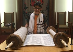 Practicing on the bimah