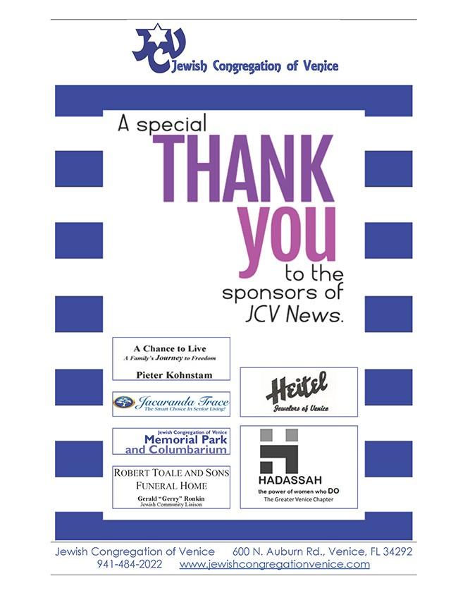 Thank you JCV News sponsors