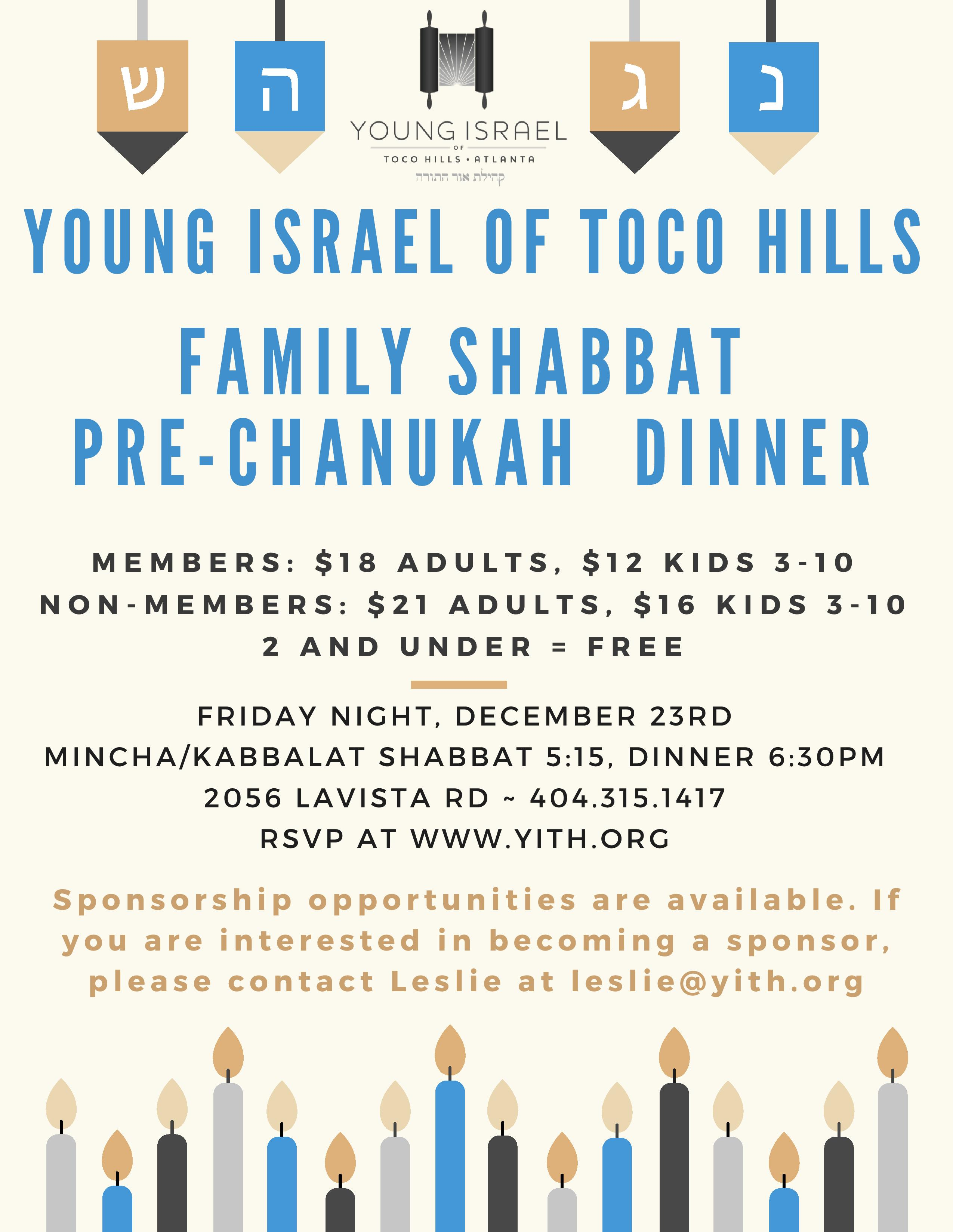 Chanukah Family Dinner - Event - Young Israel of Toco Hills