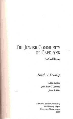 The Jewish Community of Cape Ann