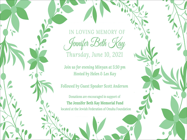 Banner Image for Evening Minyan followed by Jennifer Kay Memorial Speaker
