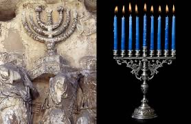 ancient and modern menorahs
