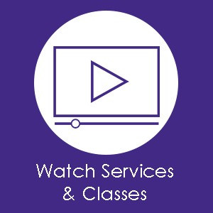 "A digital graphic image of a computer screen with a triangular play button that says ""Watch Services and Classes."" This image can be clicked to be taken to B'nai Amoona's live streaming page."