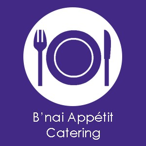 An image of a plate with a fork on the left and a knife on the right. You can click this image to order food on the B'nai Amoona Catering webpage.