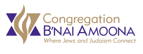 "Image of the B'nai Amoona logo. A stylized Jewish star in purple and gold on the left with the words Congregation B'nai Amoona on the right. Under the image are the words, ""Where Jews and Judaism Connect."""