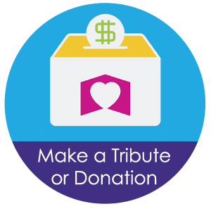 Image of Tzedakah money collection box with coins entering the slot. Clicking this button will take you to a webpage to make a tribute or donation.