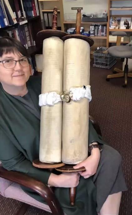 Rabbi Ilene Haigh Holding Orphaned Torah, MST #959