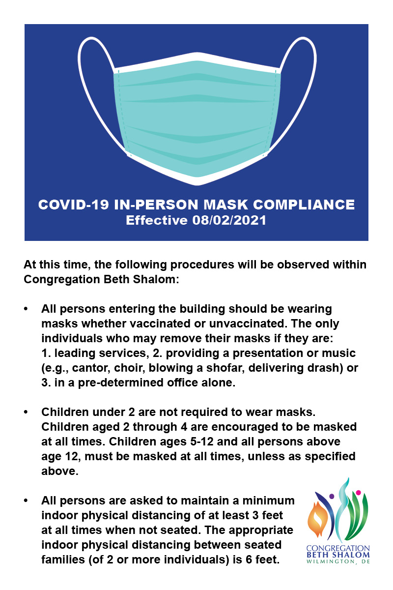 Mask Guidance - effective August 2, 2021