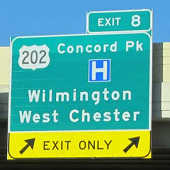 Image of Exit Sign on I-95 in Wilmington, Delaware