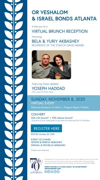 Banner Image for Or VeShalom Israel Bonds Virtual Brunch