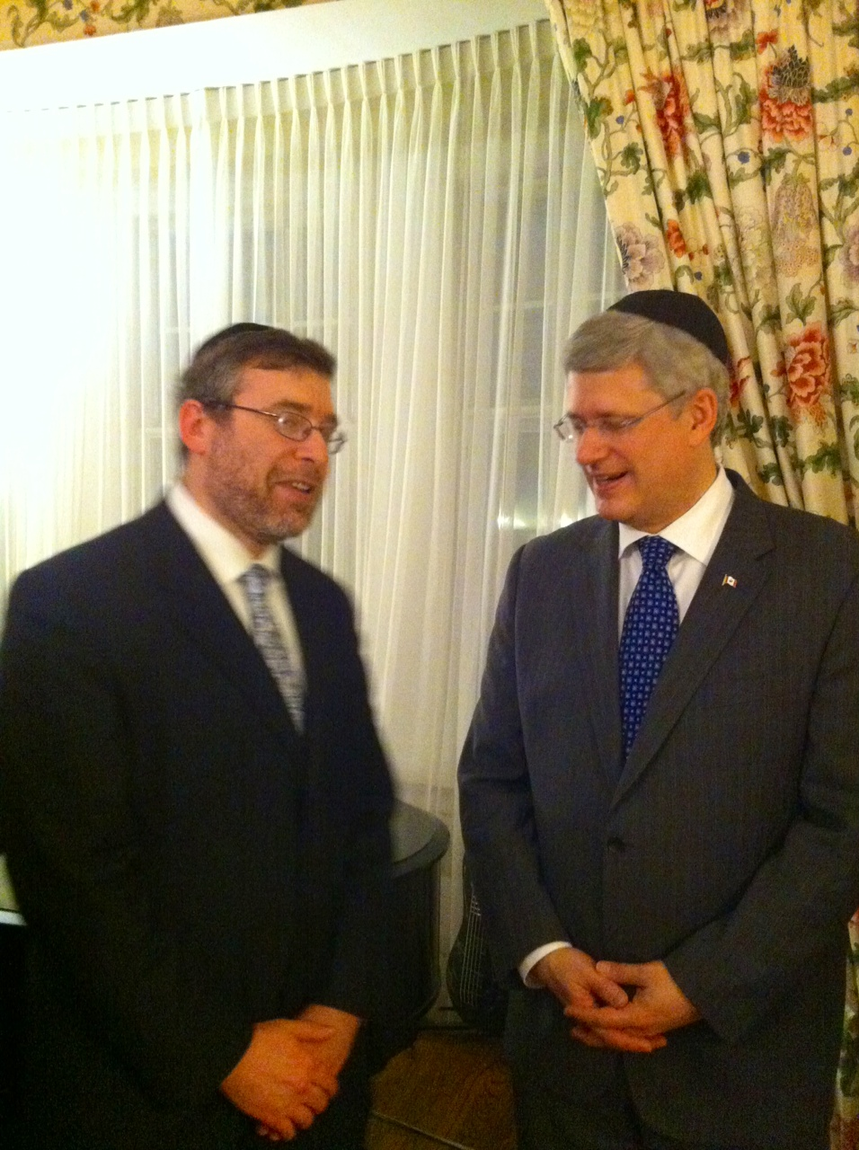 Rabbi Korobkin with Stephen Harper at 24 Sussex Drive for a Channukah party for Jewish leaders.