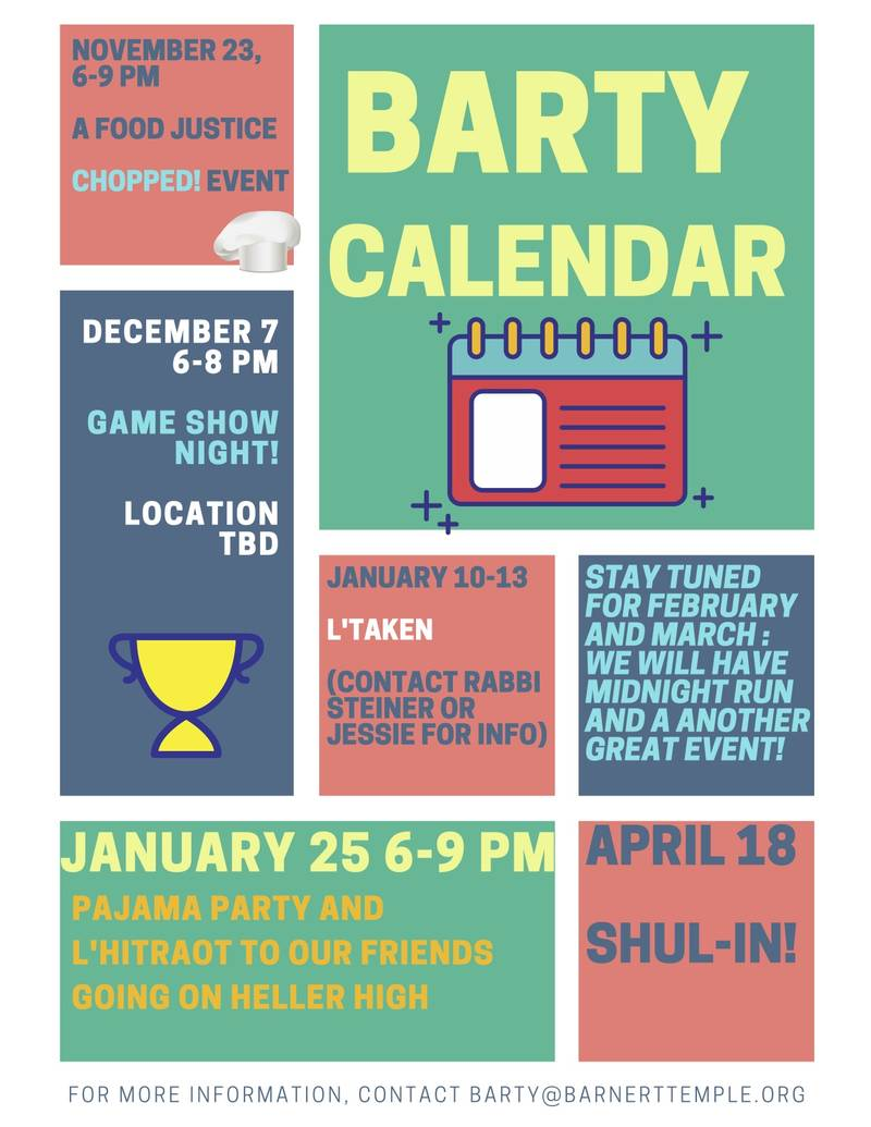 BarTY Barnert Temple Youth Group 2019-20 Calendar of Events