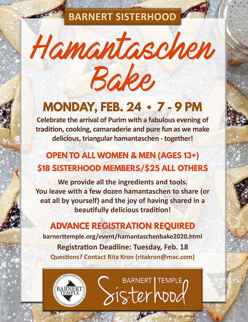 Barnert Temple Sisterhood Hamantaschen Bake Flyer