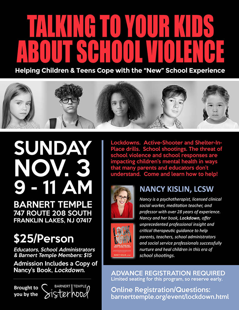 Flyer for Barnert Sisterhood's Talking to Kids About School Violence Program on Nov. 3