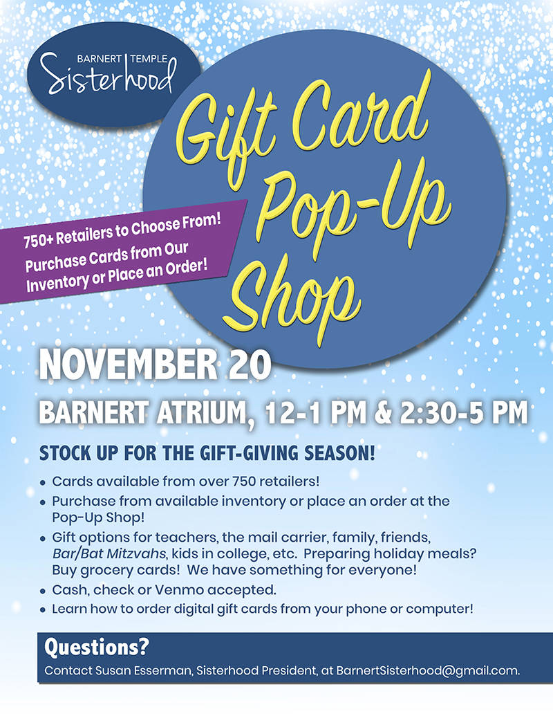 Barnert Sisterhood Gift Card Pop Up Shop Flyer November 20 2019
