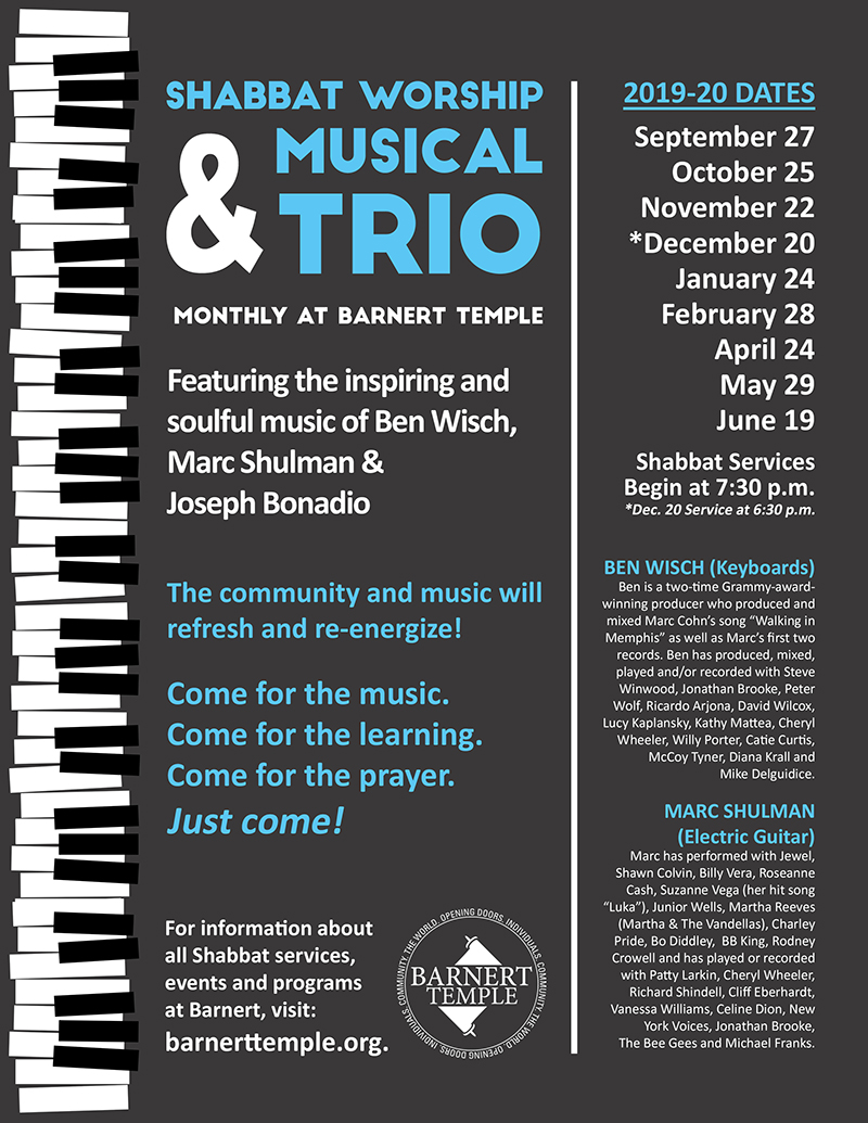 Shabbat Service with Musical Trio Flyer (Monthly)