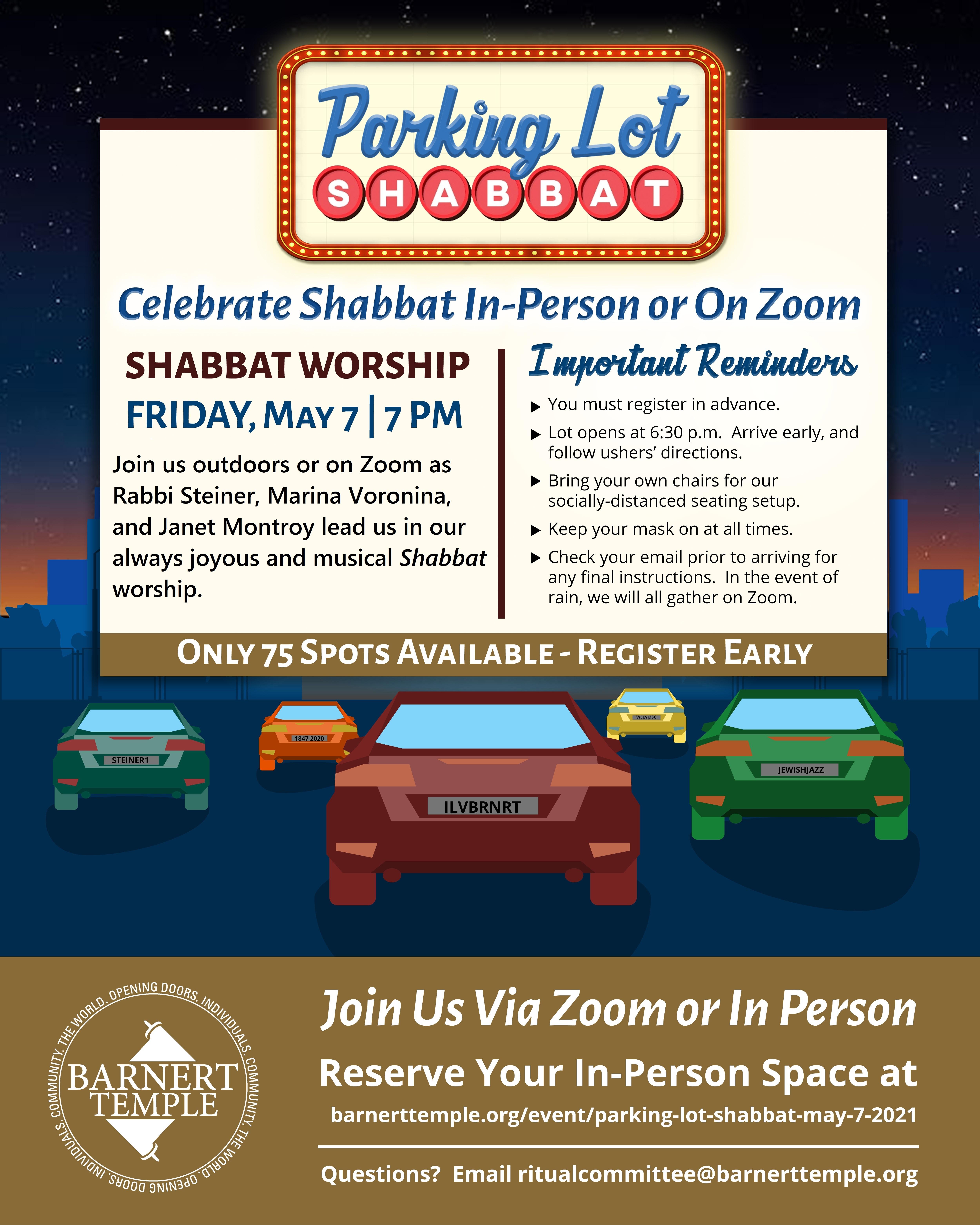 Parking Lot Shabbat May 7 Ad