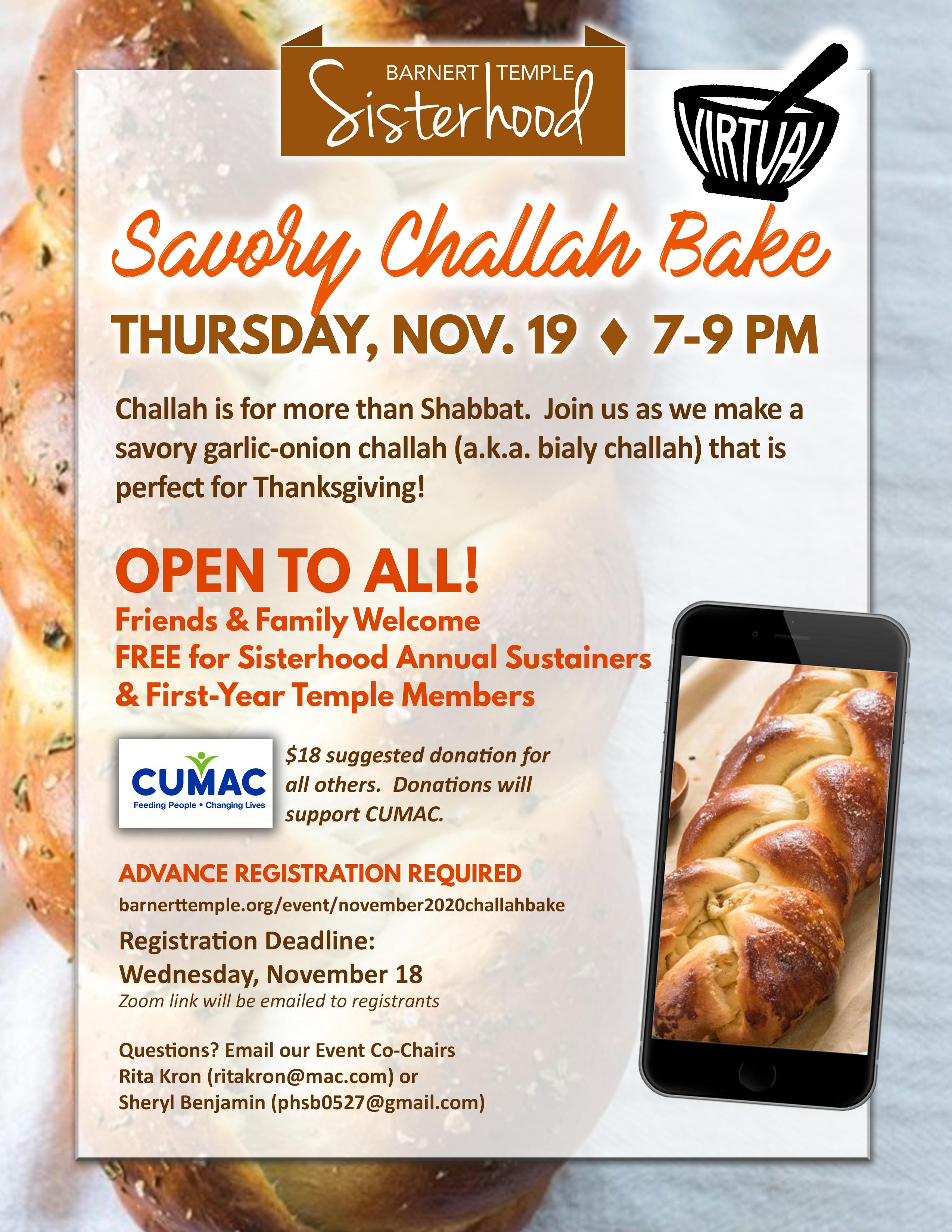 November Savory Challah Bake Flyer