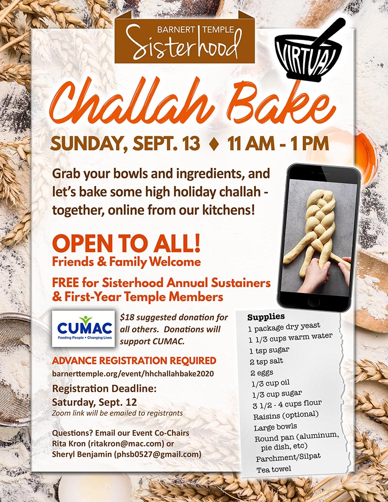 Sisterhood High Holiday Virtual Challah Bake 2020