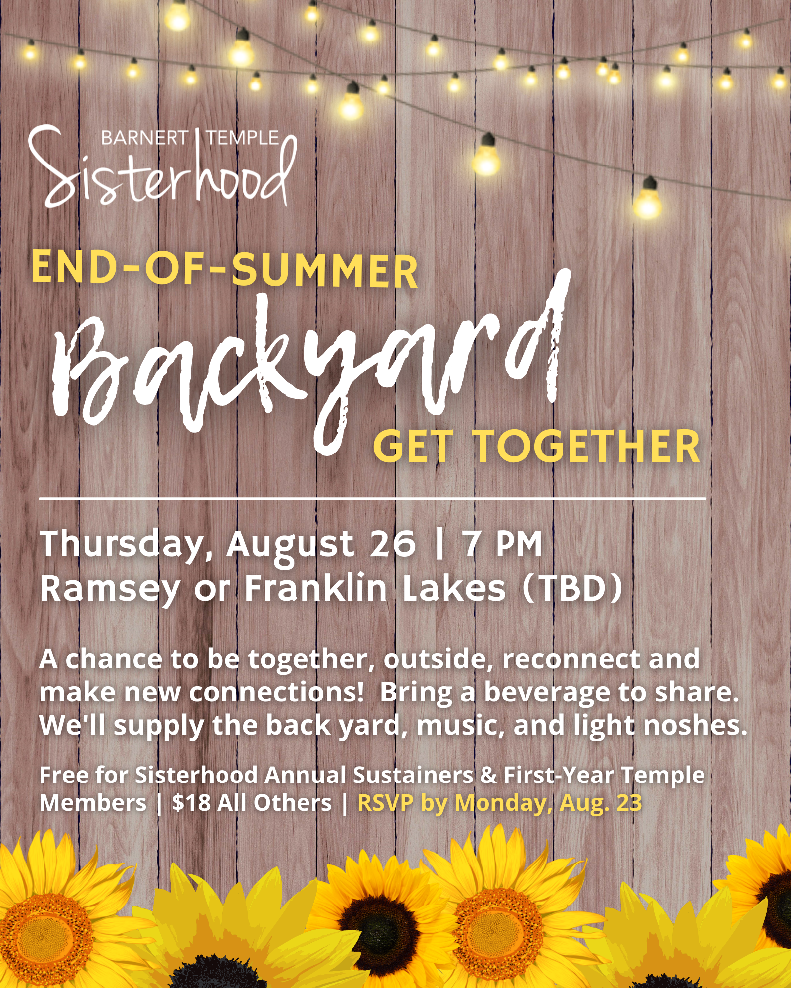 Sisterhood End of Summer Backyard Get Together Ad