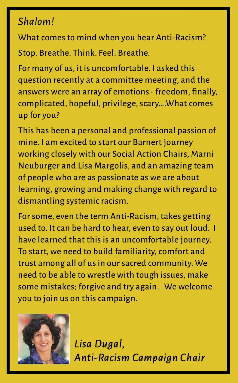 Welcome Words from Lisa Dugal, Anti-Racism Campaign Chair