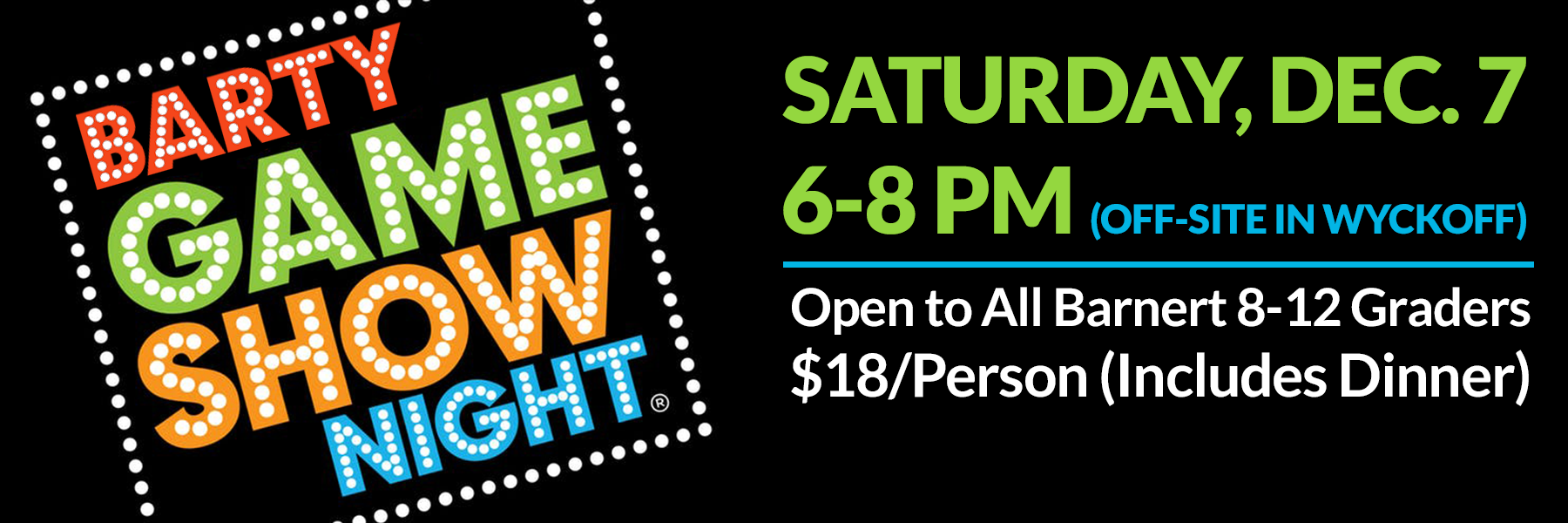 """<a href=""""https://www.barnerttemple.org/event/barty-game-show.html""""                                     target="""""""">                                                                 <span class=""""slider_title"""">                                     Don't Miss the Night of Fun, Games & Food!                                </span>                                                                 </a>                                                                                                                                                                                       <span class=""""slider_description"""">BarTY (Barnert Temple Youth) is open to all Temple members in grades 8 - 12.  Contact Jessie Losch, Barnert Temple Youth Advisor, at barty@barnerttemple.org with questions or to RSVP.</span>"""