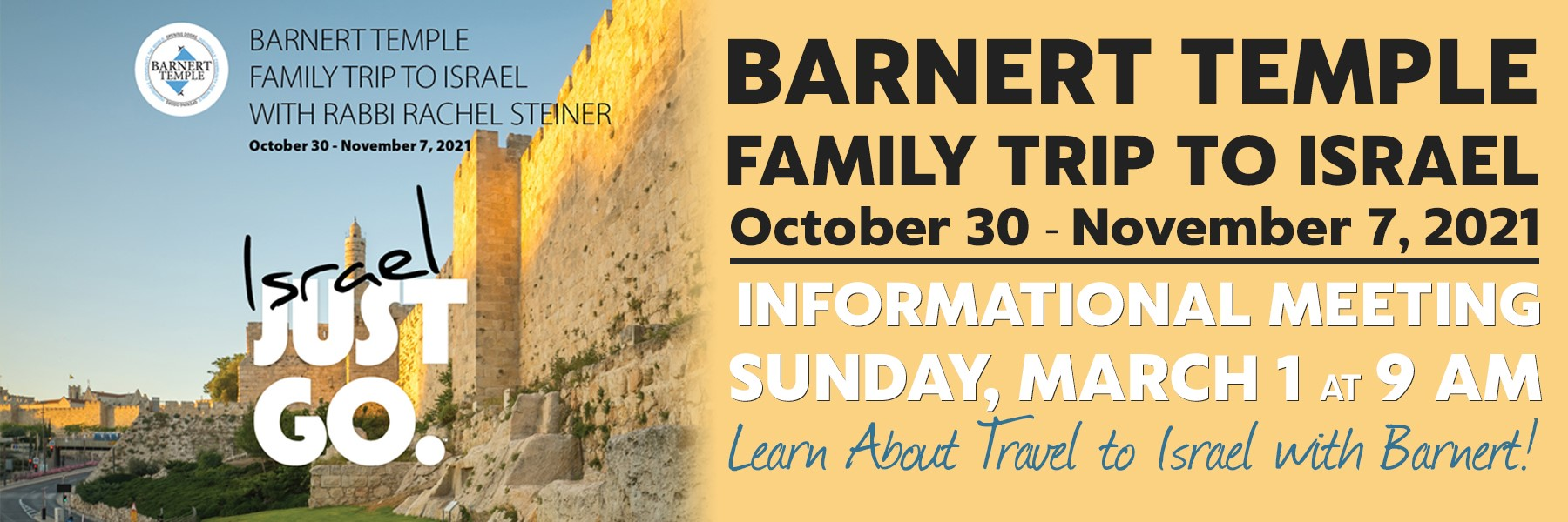 """<a href=""""https://www.barnerttemple.org/event/israel-trip-meeting.html""""                                     target="""""""">                                                                 <span class=""""slider_title"""">                                     Learn About the Barnert Trip to Israel in 2021!                                </span>                                                                 </a>                                                                                                                                                                                       <span class=""""slider_description"""">Rabbi Steiner is leading a trip to Israel in October 2021.  If you have never been or would like to return for an extra-special experience, come learn more about the Barnert trip.  A representative from ARZA Travel will share information with us.  Click above for details and to let us know if you are interested and/or coming.</span>"""