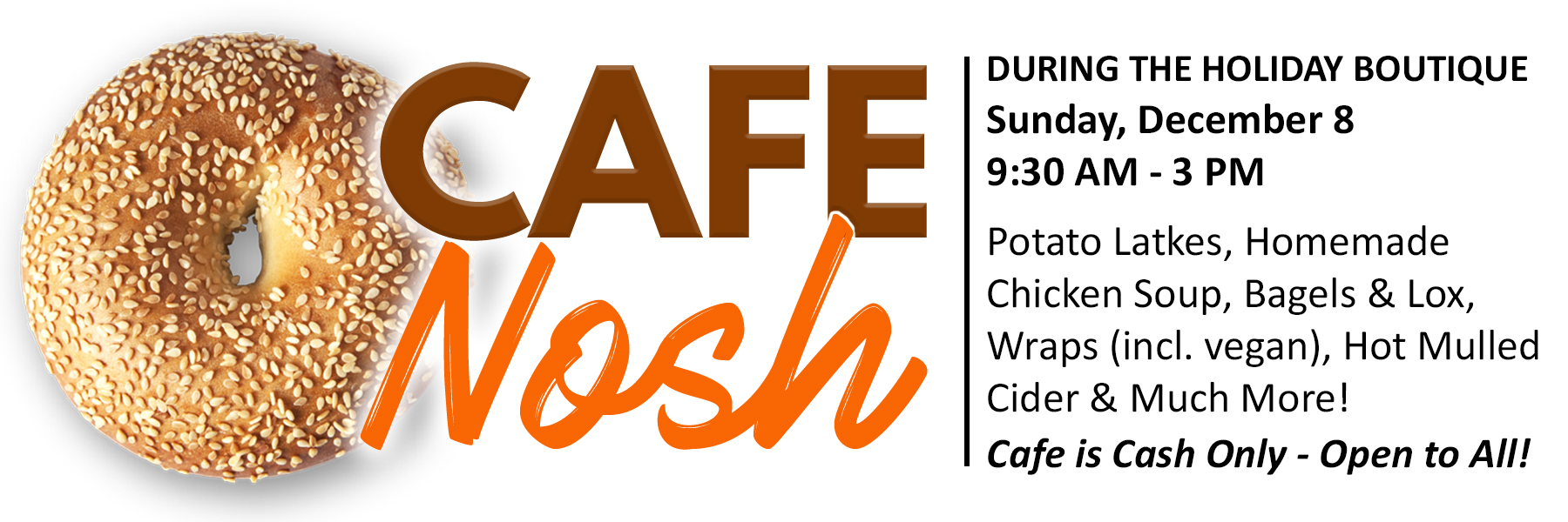 """<span class=""""slider_title"""">                                     Grab a Bite During the Holiday Boutique                                </span>                                                                                                                                                                                       <span class=""""slider_description"""">Whether you are shopping or you just want a delicious meal you don't have to cook, stop by Cafe Nosh this Sunday and grab a bite!  Bring the family or come on your own.  We'll be ready for you!</span>"""