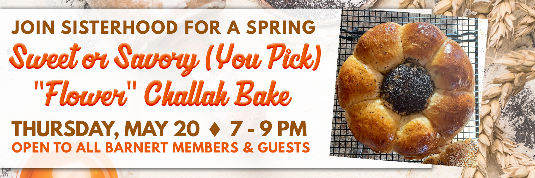 """<a href=""""https://www.barnerttemple.org/event/may2021challahbake""""                                     target=""""_blank"""">                                                                 <span class=""""slider_title"""">                                     Spring is In the Air...and In Our Challah!                                </span>                                                                 </a>                                                                                                                                                                                       <span class=""""slider_description"""">Continuing with our spring flower theme, join us for a """"flower"""" challah bake.  These are always casual and fun!  Click above to register.</span>"""