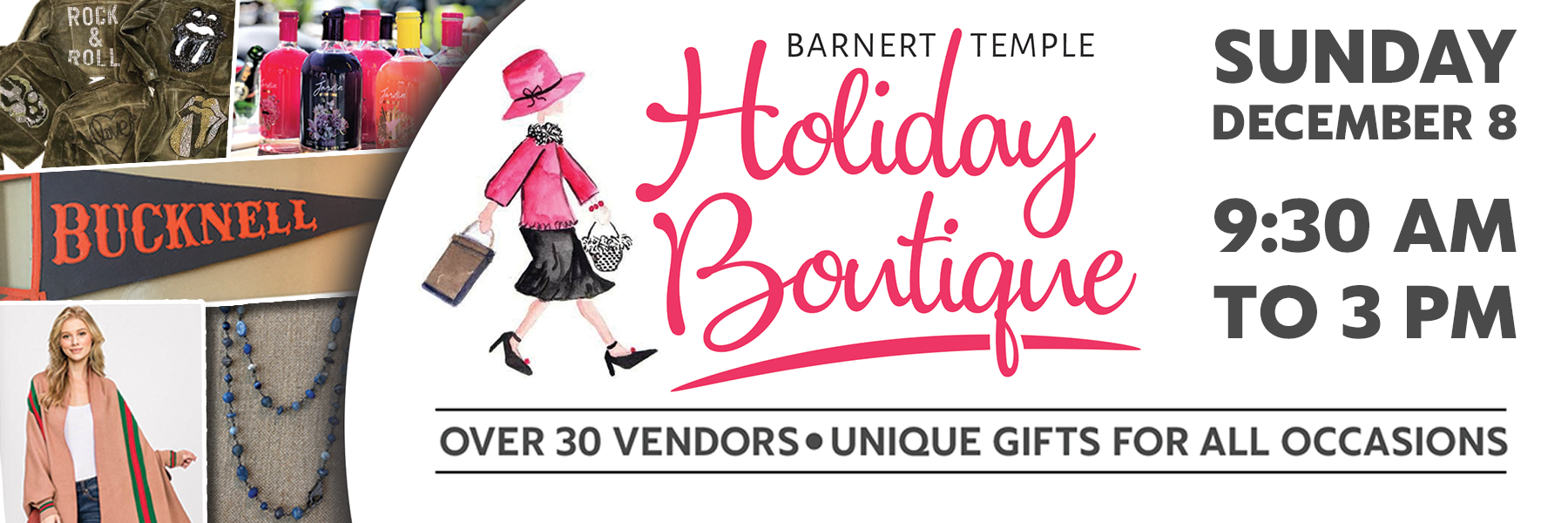 """<a href=""""https://www.barnerttemple.org/event/holidayboutique.html""""                                     target=""""_blank"""">                                                                 <span class=""""slider_title"""">                                     Celebrating 19 Years!  Open to the Public!                                </span>                                                                 </a>                                                                                                                                                                                       <span class=""""slider_description"""">Shop one the longest-running and best holiday boutiques in the area!  Free admission and major credit cards and Venmo accepted.  Jewelry, apparel, accessories, home decor, gourmet food, handbags, custom woodwork, hostess gifts, gift cards, Judaica and more!  Click above for details.</span>"""