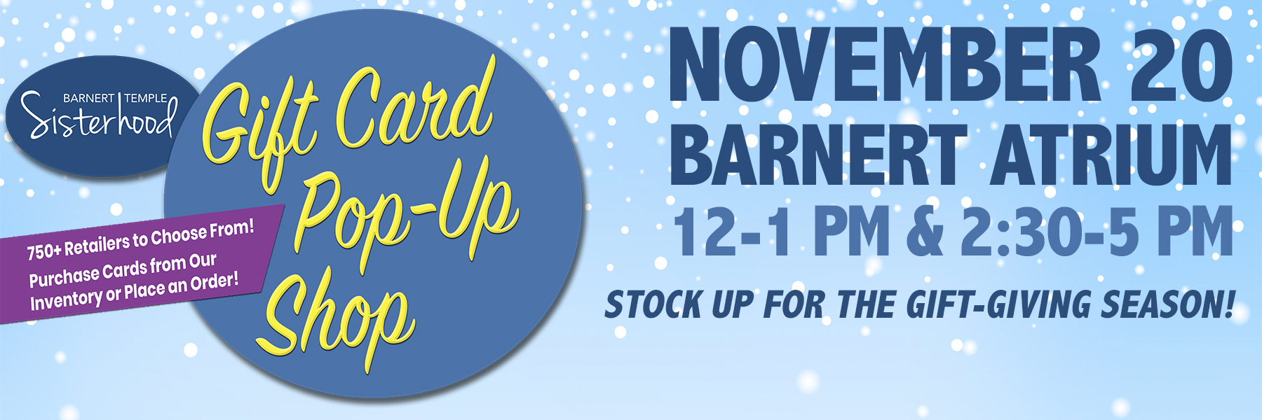 """<a href=""""https://www.barnerttemple.org/event/gift-card-pop-up-shop.html""""                                     target="""""""">                                                                 <span class=""""slider_title"""">                                     Purchase Gift Cards & Stock Up for the Season                                </span>                                                                 </a>                                                                                                                                                                                       <span class=""""slider_description"""">Thanksgiving and the winter holiday season is fast approaching.  Stock up on gift cards to cover all of your shopping and gift-giving needs.  A percentage of each gift card supports Sisterhood.  It's a win-win!  Click above for details.</span>"""