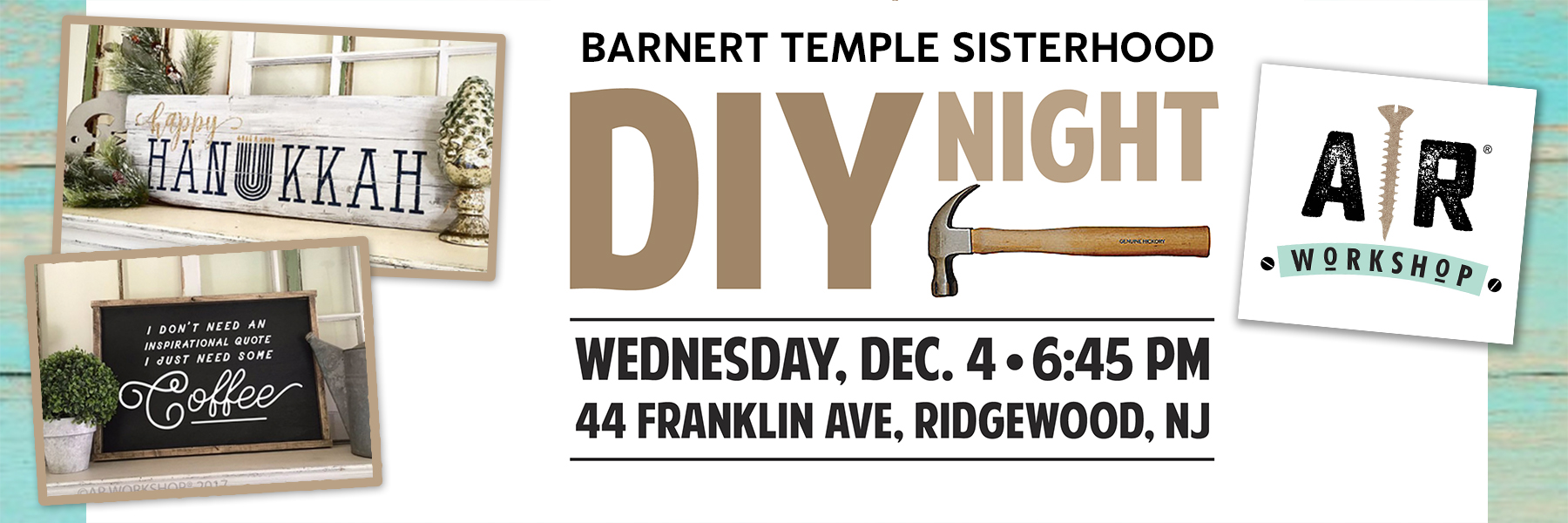 """<a href=""""https://www.barnerttemple.org/event/DIYNight""""                                     target=""""_blank"""">                                                                 <span class=""""slider_title"""">                                     Open to All Barnert Women & Men (13+)                                </span>                                                                 </a>                                                                                                                                                                                       <span class=""""slider_description"""">Open to women and men (13+).  Join us for a night of pure fun at AR Workshop in Ridgewood.  Assemble, paint and stencil your own project.  Make something for the holidays, for your home or a special gift for someone else. Advance registration required,  Price varies by project selected.  Click above for details.</span>"""