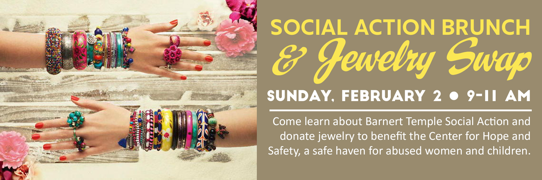 """<a href=""""https://www.barnerttemple.org/event/social-action-jewelry-swap.html""""                                     target="""""""">                                                                 <span class=""""slider_title"""">                                     Learn About Social Action at Barnert                                </span>                                                                 </a>                                                                                                                                                                                       <span class=""""slider_description"""">Come learn about Barnert Temple Social Action and how you can become involved!  Also, bring jewelry to swap and donate to The Center for Hope and Safety, a safe haven for abused women and children.  Click above for details and to RSVP.</span>"""