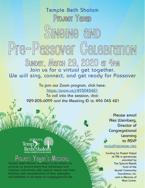Banner Image for Zoom: Project Yahad Singing & Pre-Passover Celebration