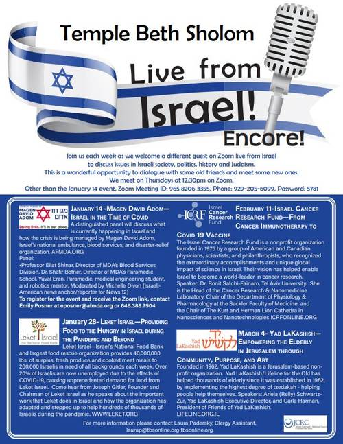Banner Image for Zoom: Lunch & Learn Live From Israel Encore!
