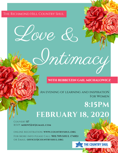 Banner Image for 'Love & Intimacy' with Rebbetzin Gail Michalowicz (Women's Learning)