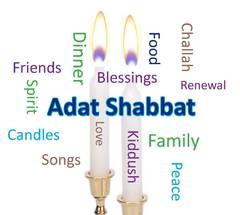 Adat Shabbat Candles and Word Cloud
