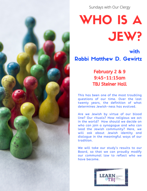 Banner Image for Who is A Jew? with Rabbi Matthew D. Gewirtz