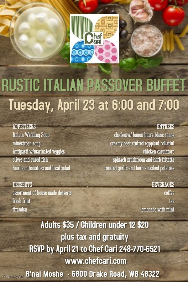Banner Image for Passover Rustic Italian Buffet Dinner