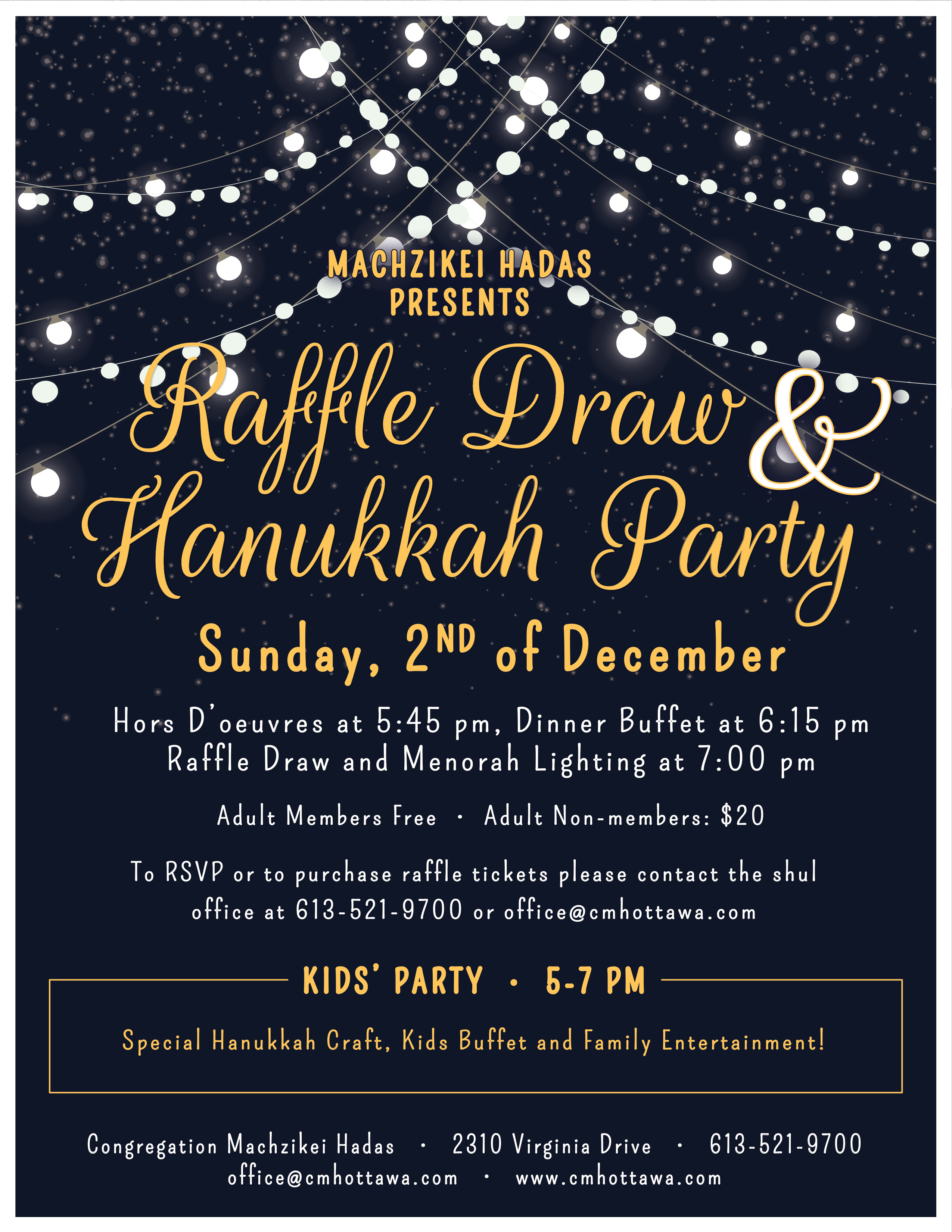 5a0dc298822 Raffle   Hanukkah Party - Event - Congregation Machzikei Hadas