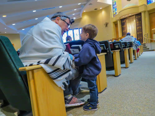 Grandson Learning About Tefillin