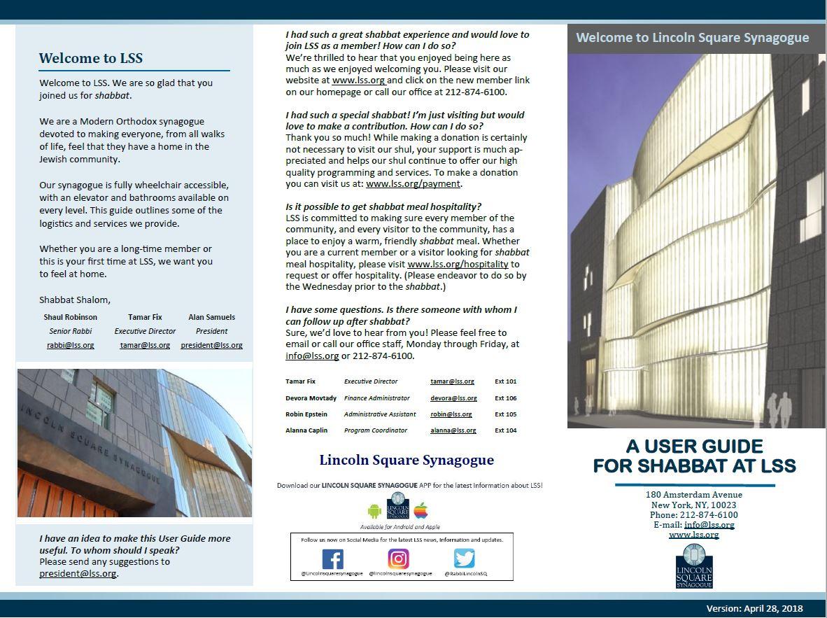 Shabbat Guide - Lincoln Square Synagogue