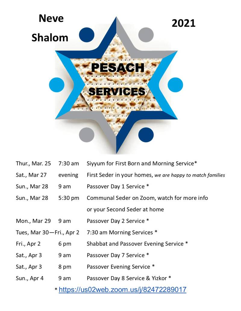Here are the service times for Pesach