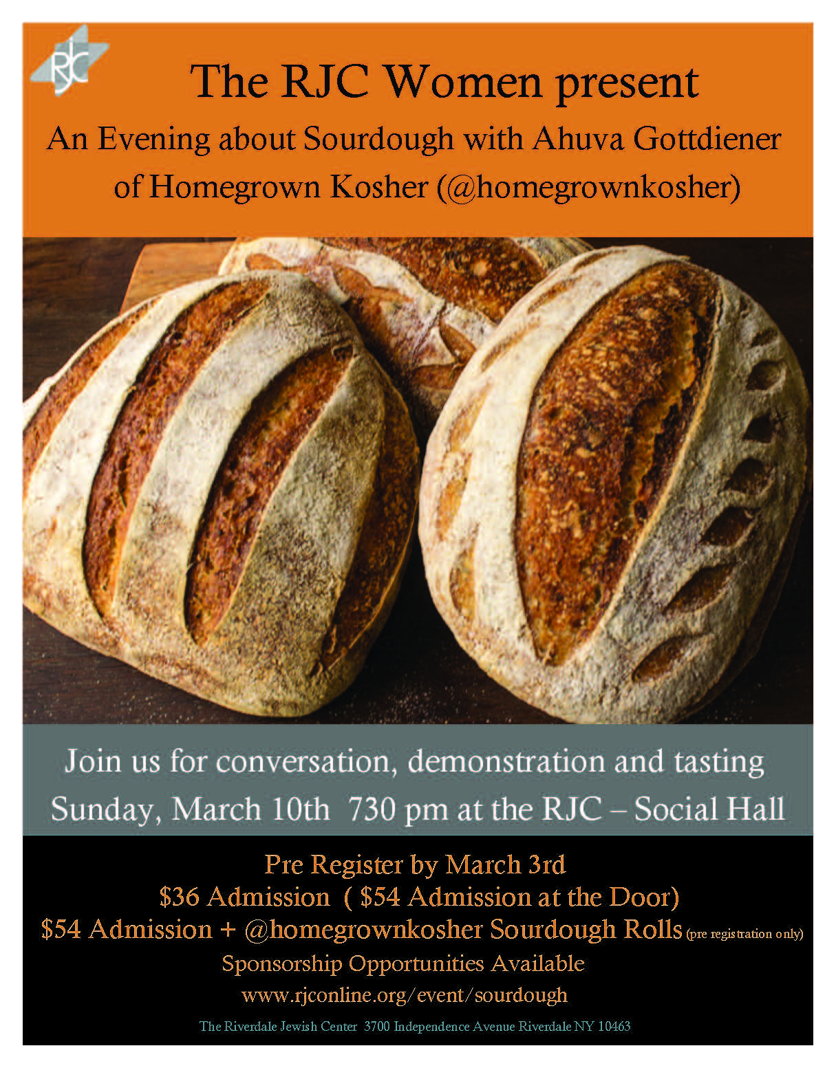 Banner Image for RJC Women Sourdough event with Ahuva Gottdiener