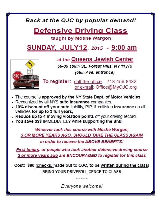 Defensive Driving Class - Event - Queens Jewish Center