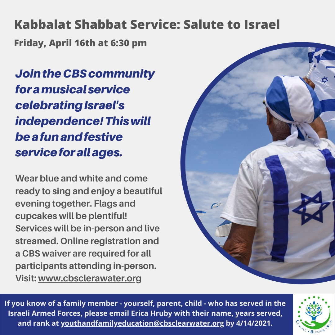 """</a>                                                                                                                                                                                       <span class=""""slider_description"""">Musical Kabbalat Shabbat: Salute to Israel Join us for this musical celebration of Israel!</span>                                                                                     <a href=""""https://www.cbsclearwater.org/form/kabbalat-shabbat-registration-4/16/21.html"""" class=""""slider_link""""                             target=""""_blank"""">                             Click HERE to Register!                            </a>"""
