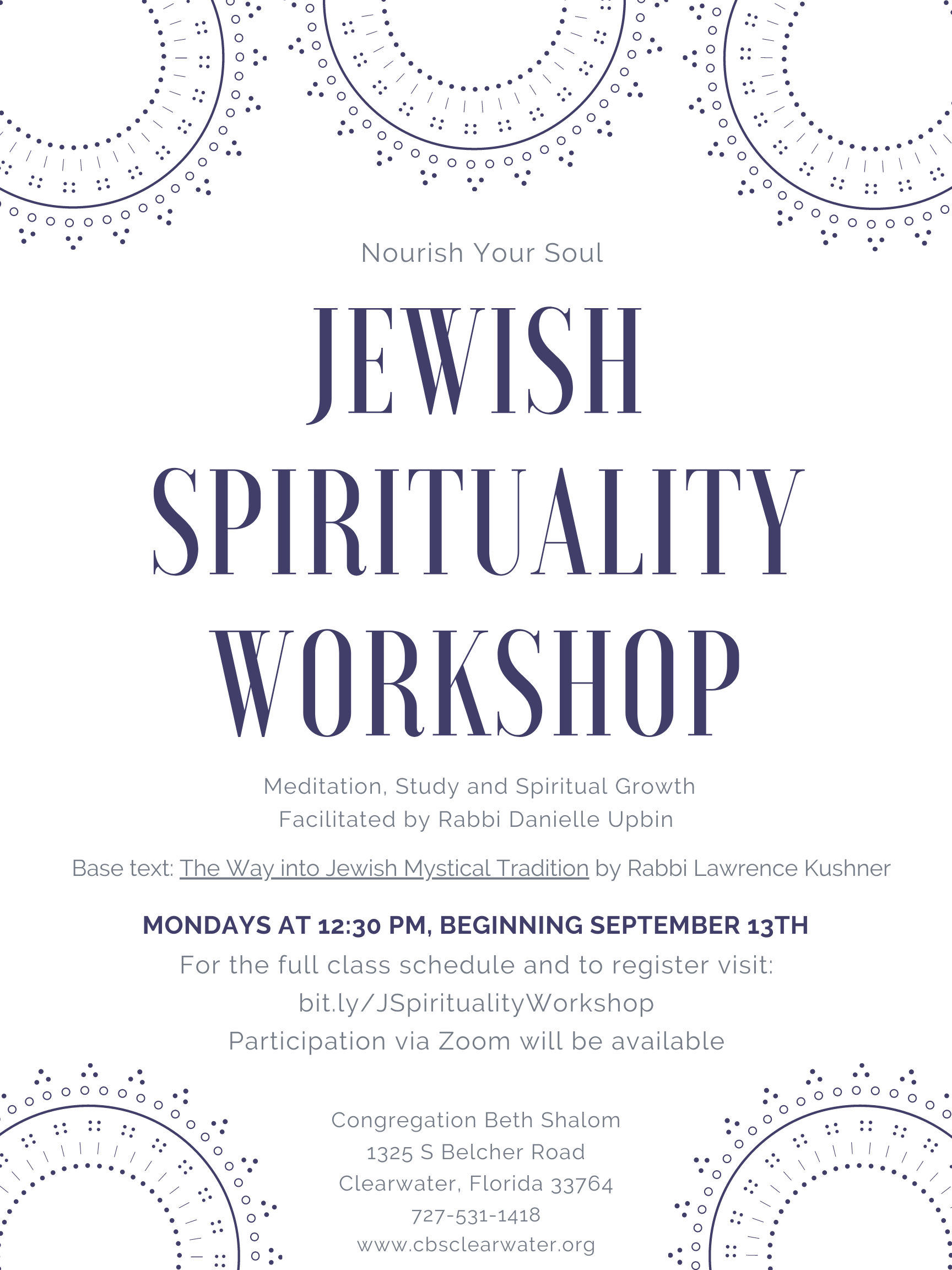 """</a>                                                                                                                                                                                       <span class=""""slider_description"""">Join Rabbi Danielle Upbin for this meaningful experience.</span>                                                                                     <a href=""""https://www.cbsclearwater.org/event/jewish-spirituality-workshop-new-class.-new-work.-new-year.html"""" class=""""slider_link""""                             target=""""_blank"""">                             Click here to sign-up!                            </a>"""